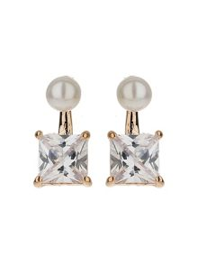 Mikey Squre Crystal Drop Pearl Top Earring