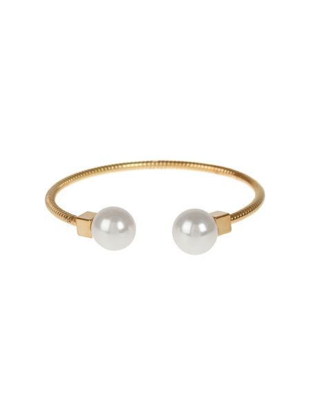Mikey Pearl Cap End  Snake Wire Cuff Bracelet