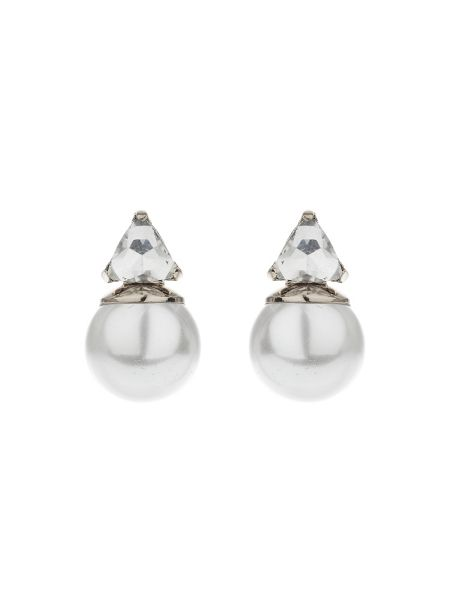 Mikey Pearl Crystal Triangle Drop Earring