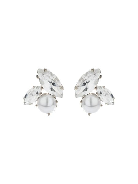 Mikey Oval Crystal Pearl Stud Earring