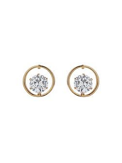 Circle Ring Citrcle Stone Stud Earring