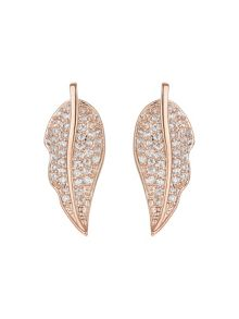 Mikey Leaf design mini cubic earring