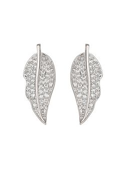 Leaf design mini cubic earring