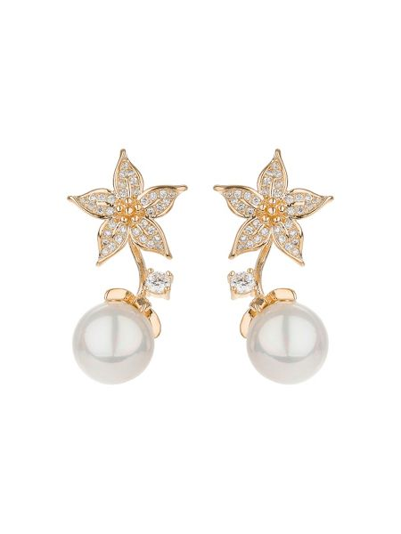 Mikey Palm leaf design  pearl drop earring