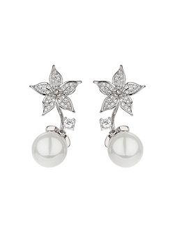 Palm leaf design pearl drop earring