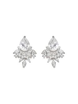 Oval cubic filligree stus earring