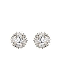 Round cubic baugette edged stud earring