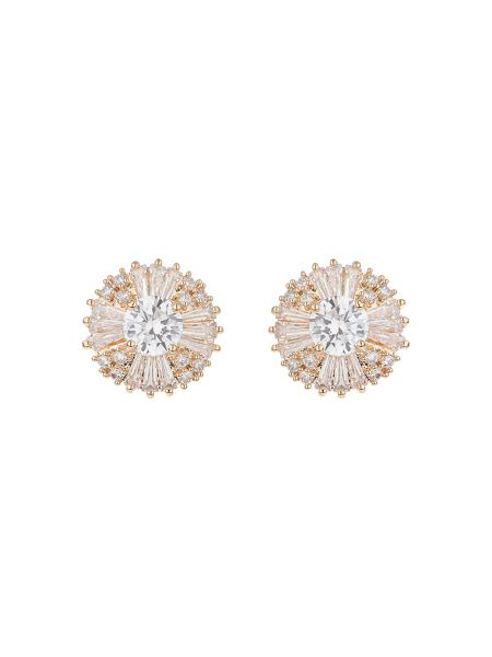 Mikey Round cubic baugette edged stud earring