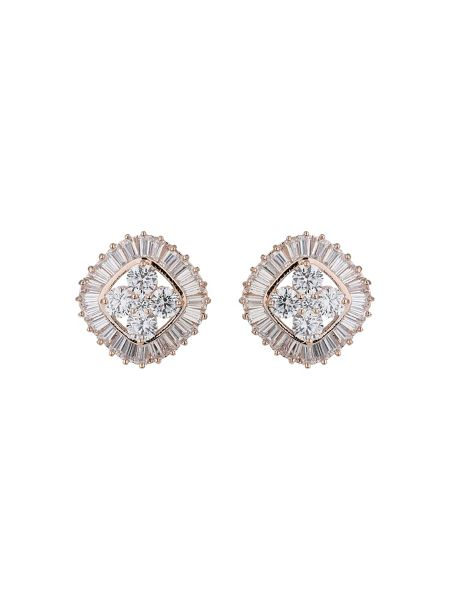 Mikey Twin square baugette edged earring