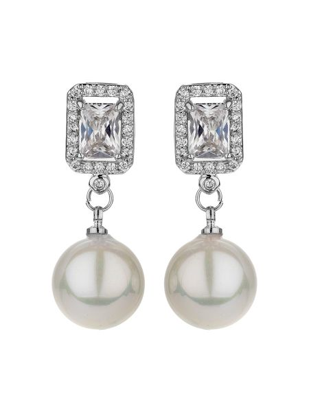 Mikey Square cubic edged pearl drop earring