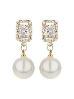 Square cubic edged pearl drop earring