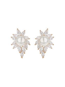 Pearl centre eclipse cubic edged earring