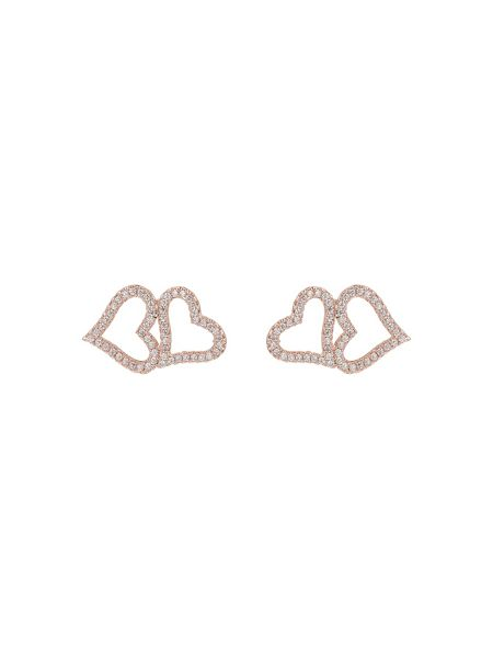 Mikey Interlinked cubic heart stud earring