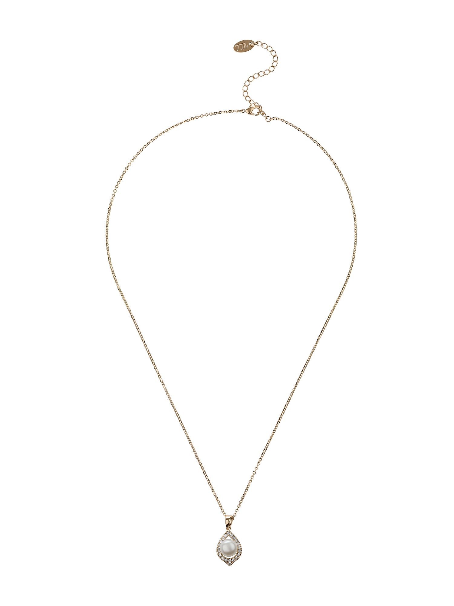 mikey oval design pearl centre edged necklace