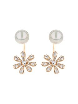 Sun flower drop pearl top earring