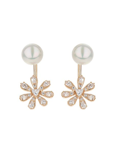 Mikey Sun flower drop pearl top earring