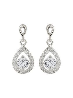 Silver 925 Oval Cubic Edged Earring