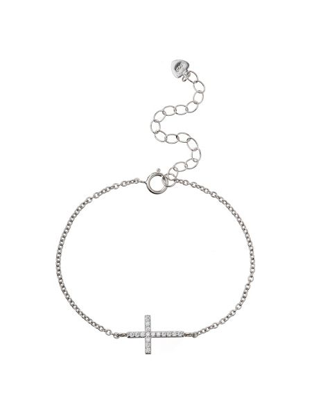 Mikey Silver 925 Cross Design Tennis Bracelet