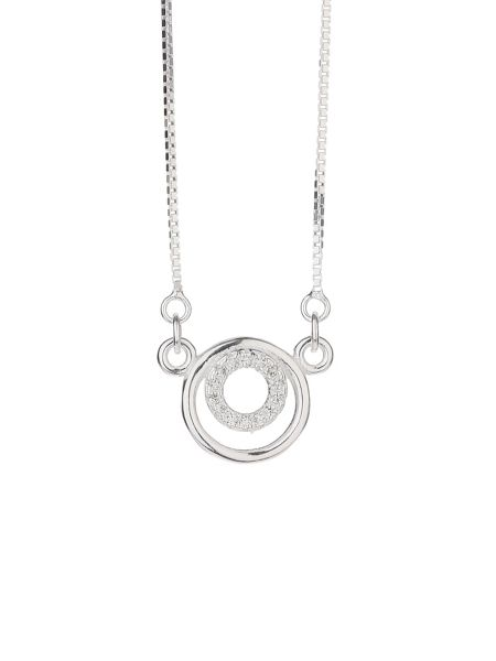 Mikey Silver 925 embed twin circle pendant