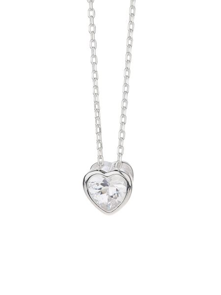 Mikey Silver 925 Embed Heart Design Pendant