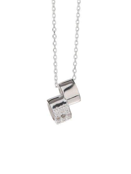 Mikey Silver 925 Embed Twin Ring Pendant