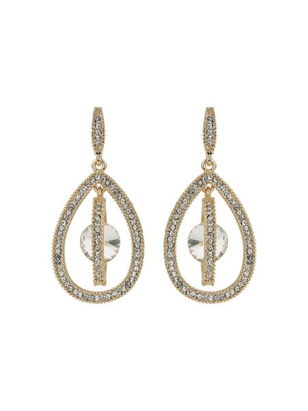 Mikey Oval design dangling crystal earring