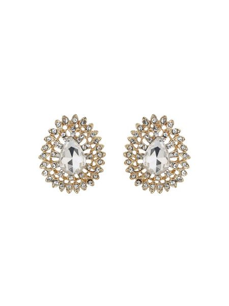 Mikey Oval edged flower stud earring