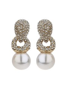 Mikey Twisted rope pearl drop crystal earring
