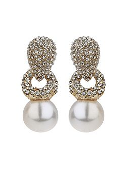 Twisted rope pearl drop crystal earring
