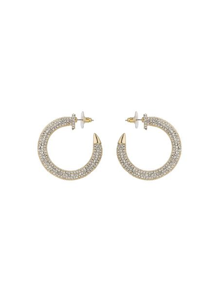 Mikey Crystal embed half crescent earring