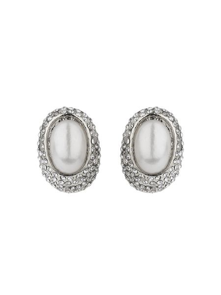 Mikey Eclipse dome crystal pearl stud earring