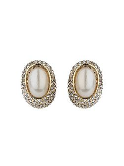 Eclipse dome crystal pearl stud earring