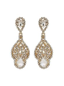 Mikey Long filgree crystal spread drop earring