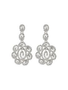 Mikey Long filgree crystal oval drop earring