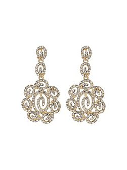 Long filgree crystal oval drop earring