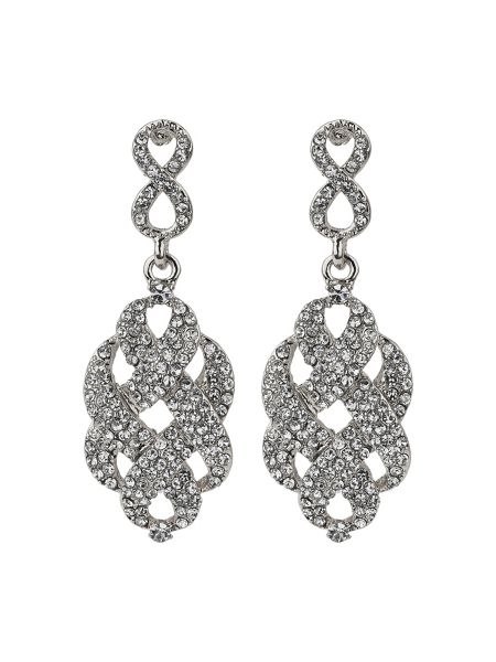 Mikey Cross over web crystal drop earring
