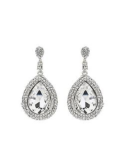 Large oval crystal edged drop earring