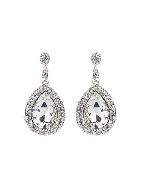 Mikey Large oval crystal edged drop earring