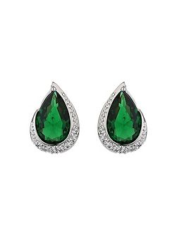 Oval cubic edged crystal stud earring