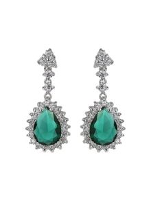 Mikey Oval cubic edged crystal drop earring