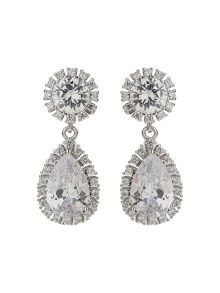 Mikey Oval Round Cubic Edge Drop Earring