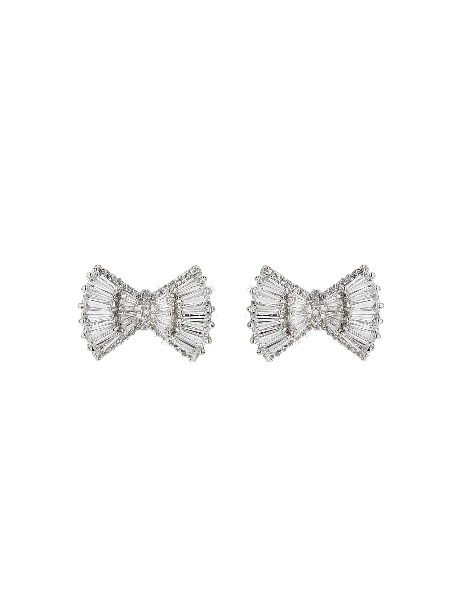 Mikey Baugette cubic wide bow stud earring, N/A