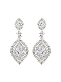 Fine edge cubic centre drop earring