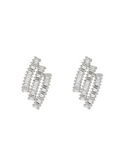 Triple baugette strip stud earring