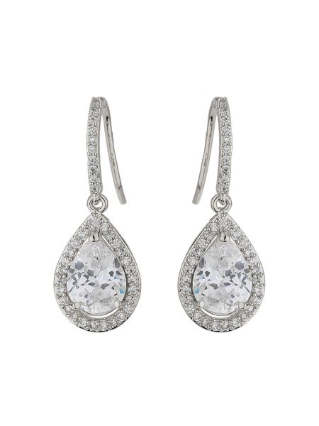 Mikey Hoop drop oval cubic centre edge earring