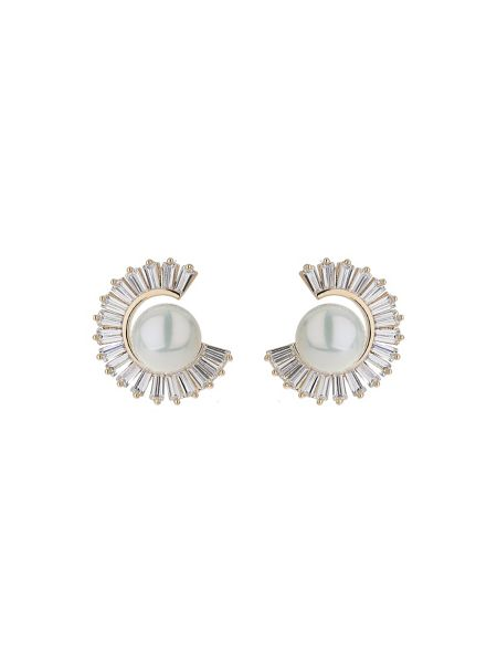Mikey Cubic baugette cresecent pearl earring
