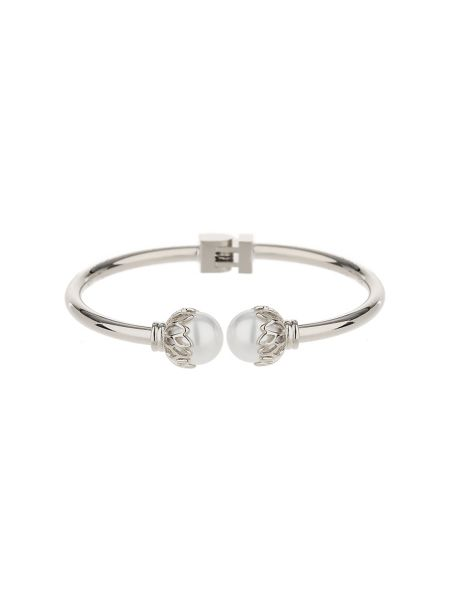 Mikey Twin pearl filigree end hinged bracelet