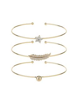 Three cuff bracelet leaf ball star