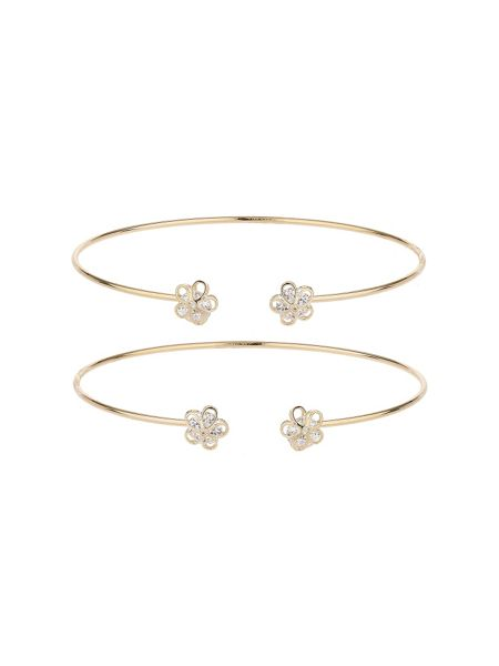 Mikey Daisy flower ends couple cuff bracelet