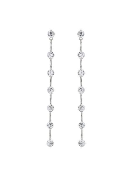 Mikey Round crystal chain link drop earring